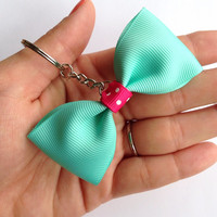 Unique Mint Green / Turquoise and Pink Polka Dot Tuxedo-Style Mini-Bow Keychain
