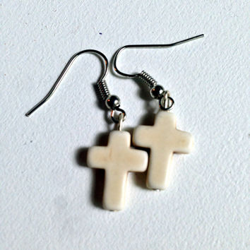 Cross Earrings, Ivory Color, Cross Jewelry, Dangle Earrings, Crucifix Bead, Cream, Off White Color