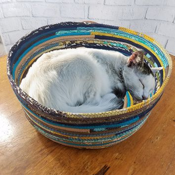 M2O Pet Basket, Pet Bed, Dog Bed, Cat Bed, Multicolor Jeweled Extra Large Fabric Bowl Made to Order You CHOOSE Colors Upcycled