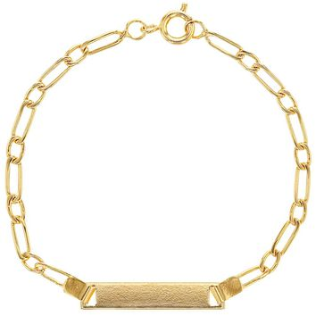 """18k Gold Plated Plain Classic Identification Tag ID Bracelets for Kids 6"""""""