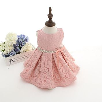 Latest set of one year old baby girl baptism dress princess wedding vestidos tutu 2016 baby girl christening gown with hat