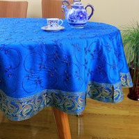 """Hand Embroidered Round Tablecloth (Ocean Blue, 90"""" Round)"""