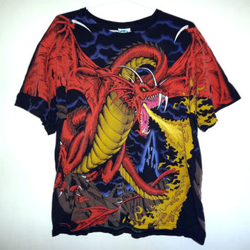 Vintage 1993 Dragon T-shirt - Large - Fantasy - Allover Print -