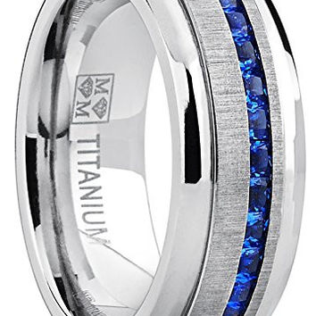 Men's Eternity Titanium Wedding Band Engagement Ring W/ Blue Simulated Sapphire Cubic Zirconia Princess CZ | FREE ENGRAVING