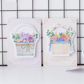 30pages/pc Flower baskets Memo Pad Sticky Notes Bookmark School Office Supply Note Paper Scrapbooking Sticker