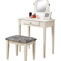 White 2Pcs Vanity Set With A Zebra Fabric Stool