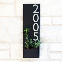 Soco Planter w/ Silver Numbers, Address Sign, House Numbers (Free Shipping)