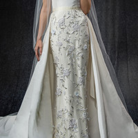 Off The Shoulder Embroidered Gown With Overskirt | Moda Operandi
