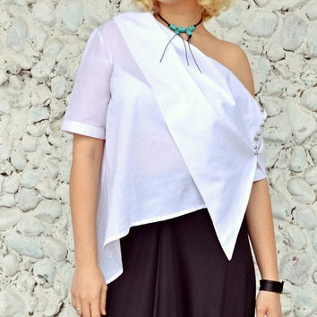 GREEN SALE 15% OFF Extravagant White Top Tt83, Asymmetrical White Top, Deconstructed White Blouse, Elegant Summer Blouse
