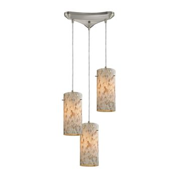 10442/3 Capri 3 Light Pendant In Satin Nickel And Capiz Shell - Free Shipping!