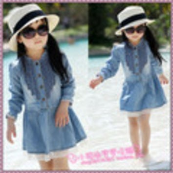 Retail  2014 new spring children's clothing girls casual princess dresses kids cotton thin denim long-sleeve dress - Default