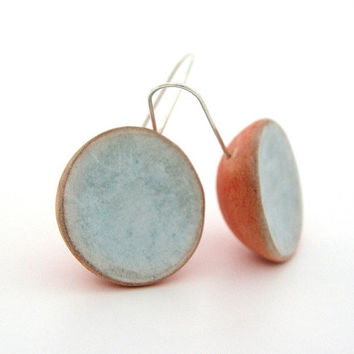 Orange tangerine and ice blue clay dome earrings, shabby chic, color block medium long air dry clay earrings, organic style, sterling silver