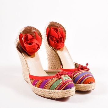 CREYU2C Red Striped Tie Wedge Espadrilles