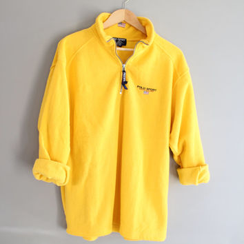 Ralph Lauren Polo Sport Fleece Sweater / Yellow Sweater / Polo Sport / Tee / Fleece / Ralph Lauren / Vintage / Size L - XL