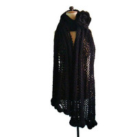 Black Knit Scarf Oversized Chunky Shawl with Large Flower Pin Brooch
