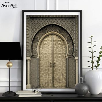 Modern Art Wall Ancient Gate Morocco Canvas Painting Posters Artwork Pictures Printed for Living Room Bathroom Home Decoration