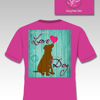 SALE Sassy Frass Comfort Colors All You Need is Love & a Dog Heart Bright Girlie T Shirt