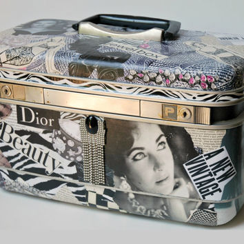 60's Samsonite  Silhouette Train Case Upcycled with Black and White Images, Includes Key and Tray
