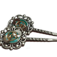 Blue Steampunk Hairpins with Watch Parts - Steampunk Bobby Pins - Steampunk Hair Pins