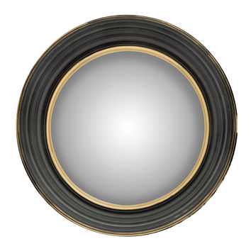 Black and Gold Framed 14 Inch Round Mirror