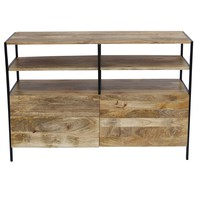 Wooden TV Console Stand With Storage Cabinet, Natural Wood Finish By The Urban Port