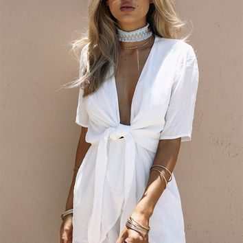 Bisque Tie Playsuit - Playsuits by Sabo Skirt
