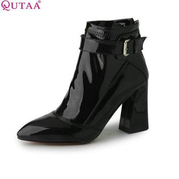 QUTAA Burgundy Pointed Toe PU Patent Leather Women Shoes Zipper Square High Heel Ankle