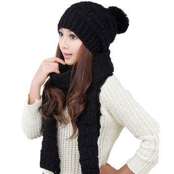 Fashion New Women Warm Thicken Scarf Hat Set Knitted Knitting Skull caps SN9
