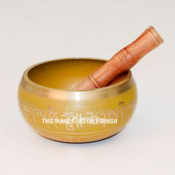 Tibetan Singing Bowl - Meditation bowl with Wooden Striker and Cushion 5.5 Inch on RoyalFurnish.com