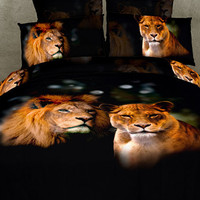 duvet covers 4pc bedding set 3D bedding set with the lion king Queen Size Custom bedding Sets Oil Painting style Bedding set