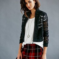 Free People Womens Lace Bomber Jacket
