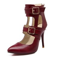 Dark Red Point Toe Stiletto Buckle Fashion High-Heeled Shoes