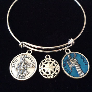 Saint Michael with Compass and Guardian Angel Charm Silver Expandable Bracelet Adjustable Wire Bangle Inspirational Jewelry Trendy Gift