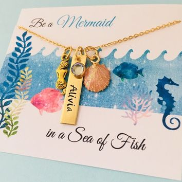 Mermaid Necklace, Mermaid Jewelry, Personalized Mermaid Necklace, Mermaid Name Necklace, Mermaid Party