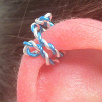 Spiral Ear Cuff, Ear Wrap  - Twisted Blue & Silver, No Pierce, No Pain, Stocking Stuffer