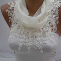 Creamy Cotton Scarf- Shawl Headband -Cowl with Lace Edge