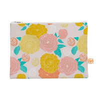 "Anneline Sophia ""Peonies Peach"" Yellow Pink Everything Bag"