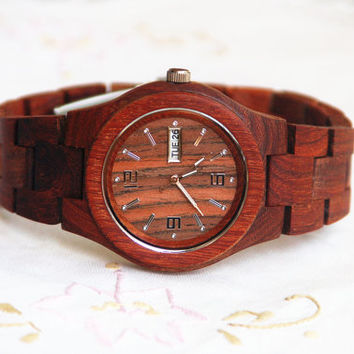 Wooden Watch For Women or Men Sandal Wood Watch Wrist Bracelet Quartz Vintage Watch With Calendar Round Dial Gift(W01025)