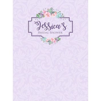 Custom Bridal Shower Backdrop Floral Purple Pink Damask Background (ANY TEXT) Wedding, Engagement, Baby Shower - C0191