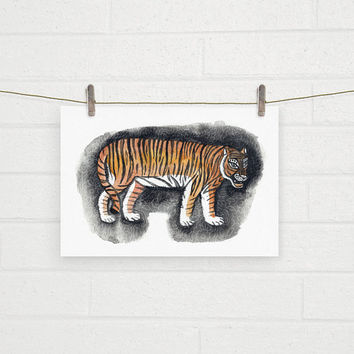 Eye of the tiger, Minimalist , ROAR, Nirvana, Tiger Print, Tiger Watercolor Painting, Indian Tiger Textile, Tiger pattern, Jungle Book