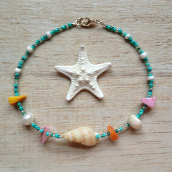 Shell Anklet, Turquoise and Clear Seed Beads, Beach Jewelry, Ocean Jewelry, Nature Jewelry