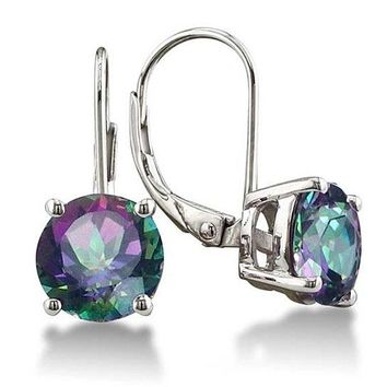 Mystic Topaz Leverback Earrings in Silver