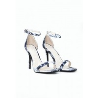 Missguided - Clara Strappy Heeled Sandals Marble Print