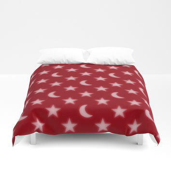 Red moons and stars pattern Duvet Cover by Steve Ball