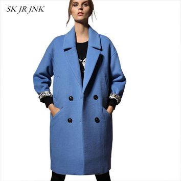 Women Wool Coat Warm Lapel Cocoon Basic Coat Single Breasted Loose Female Wool Blend Parkas WYF08