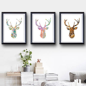 Antler Set of 3, Stag, Blue Deer Print - Minimalist Art - Silhouette Poster Art - Wall Decor, Home Decor, House Warming Gifts