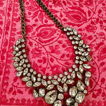 "Dazzling ""Diamonds are a Girls Best Friend"" type of Vintage Rhinestone Statement Hollywood Bling Necklace"
