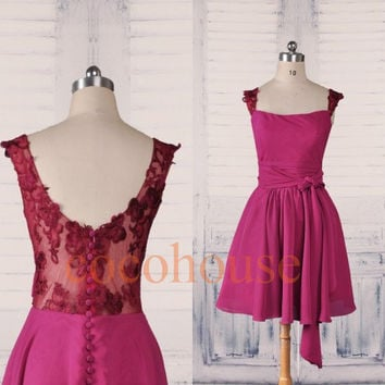 Burgundy Lace Chiffon Short Bridesmaid Dresses,Prom Dresses, Formal Party Dresses, Homecoming Dresses, Evening Dresses,Wedding Party Dresses