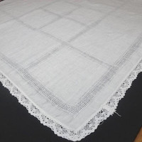 1960s White LINEN Tablecloth for Card or Bridge Table with Drawn Work & Hand Crocheted Lace Trim, 33 x 32 In. Vintage Linens, Tablecloths