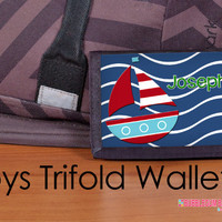 Custom Personalized Boys Trifold Nylon Wallet Personalized for Kids Teens BOAT Boating Sailing Ship Sea Ocean